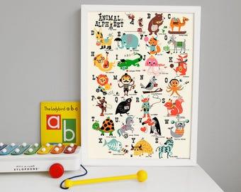 Childrens animal alphabet Nursery wall art ABC print size A3 alphabet Nursery Print, Fun Alphabet Print, ABC Poster, Retro Alphabet Print