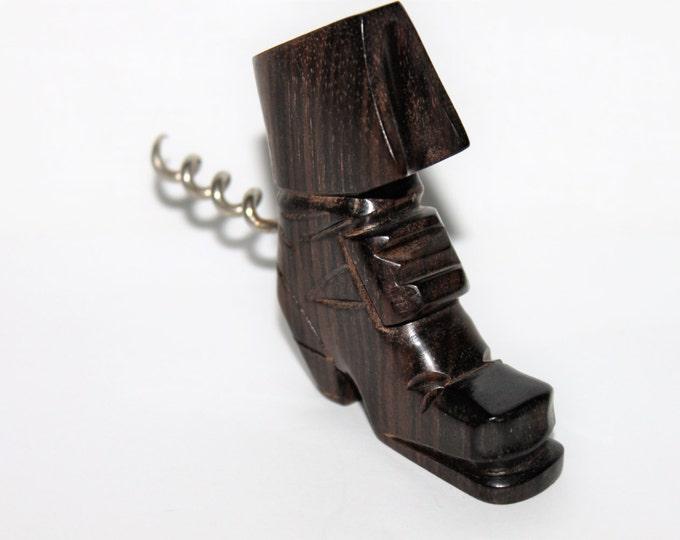 Vintage Figural Wood Carved Pilgrims Shoe / Boot Corkscrew