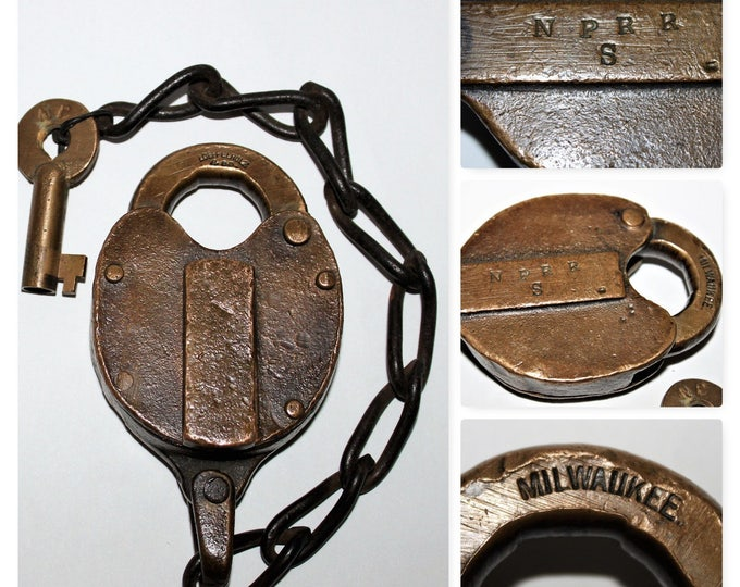 Vintage Loeffelholz & Co. Padlock from The Northern Pacific Railroad, Brass Padlock w/ Key