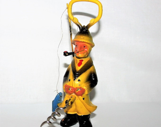 Vintage 1960s Fisherman Corkscrew and Bottle Opener