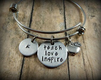teach love inspire - Personalized Hand Stamped Bracelet with Initial and Apple Charm - Teacher Gift - Teacher Appreciation - Back to School