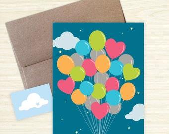 DIY Blank Card - Balloons (Single or Set)