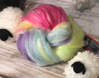 Ombre Rainbow Batt 4 ounce Superfine 16 micron Merino Mulberry Silk