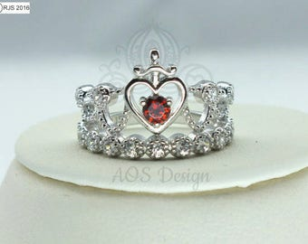 Princess Sword Heart Ring 925 Sterling Silver Crystals Snow Red Heart Crystal Crown Tiara Kingdom