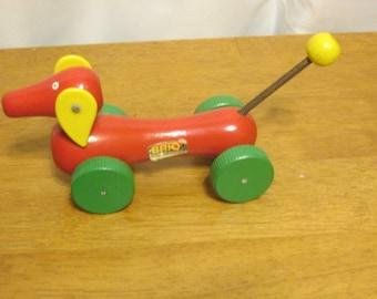 Vintage Brio Pull Toy Miniature Dachshund Swedish Wood Toy