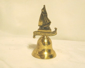 Vintage Brass Bell Souvenir Of Bournemouth, England