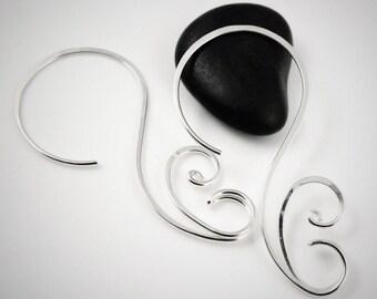 Sterling hoop earrings, Silver hoop earrings, 14k gold filled hoop, Swirly hoop, Sterling silver hoop