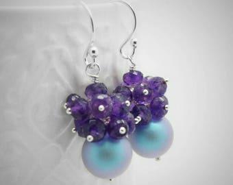 Amethyst cluster earrings, Swarovski pearl earrings, Genuine amethyst earrings with swarovski pearl, Sterling silver purple cluster earrings