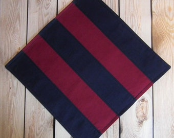 "12"" x 12"" (30cm x 30cm) BERRY and NAVY striped cloth napkin, color block fabric dinner napkin, reusable, set of 2, ready to ship"