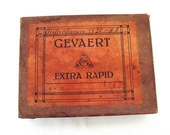 Gevaert 13 Glass Photo dry plates in Originals Box Black and white glass plates 9 x 12. Antiques Glass Negatives 1930s