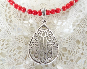 Hand of Fatima Necklace,Red Coral Necklace,Hamsa Necklace,Stone Jewelry,Elegance Feminine Necklace,Gift for Her,Mother's Day Gifts