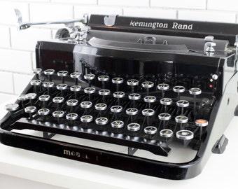 Vintage Working Typewriter - Remington Rand Model 1 Portable Typewriter with Original Case and New Ink Ribbon 1930s Typewriter P18608
