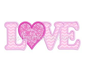 Valentine Heart LOVE Applique Machine Embroidery Design INSTANT DOWNLOAD