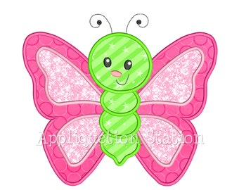 Cute Bugzee Butterfly #2 Applique Machine Embroidery Design boy/girl baby insect bug INSTANT DOWNLOAD