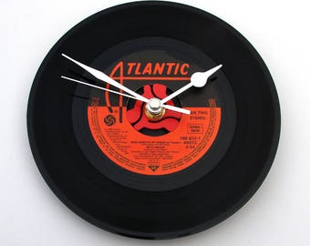 """Bette Midler Record Clock, """"Wind Beneath My Wings"""",Vinyl CLOCK, 7"""" single, Gift for girls, Wedding Anniversary, Our Song, Thanks, black, red"""