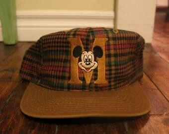 Mickey Mouse snapback vtg plaid Disney M hat cap
