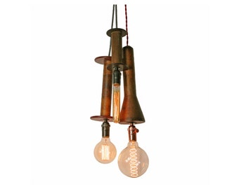 Vintage Industrial Bobbin Fixture with Cloth Cord