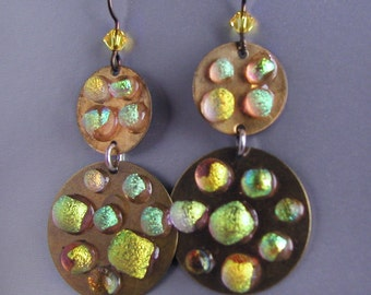 Super Disco Danglers with Frosted Iridescent Dichroic Glass