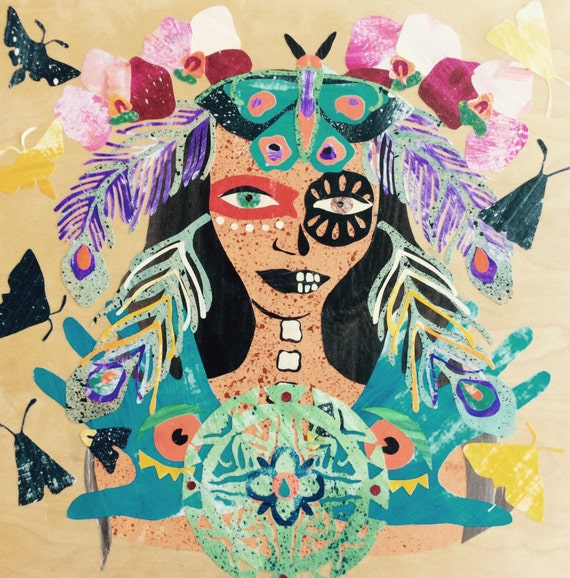 Print Art Painting Giclee Print Collage Giclee Canvas Native Woman Day of the Dead Paper Art Design Dia De Los Muertos