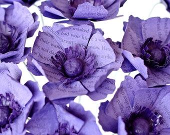 Anemone Bouquet - 12 Book Page Paper Flowers - Bridesmaid Bouquet, Budget Bridal Bouquet, Alternative Wedding Flowers - Non-Allergenic