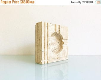 ON SALE Mid Century Italian Travertine Ash Receiver or Catch-all