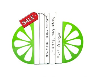 Bookends - Lime - laser cut for precision these metal bookends will hold your favorite cookbooks (or just books) FREE SHIPPING