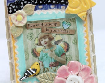 Live with a Song in Your Heart mosaic, mosaic art, bird, star
