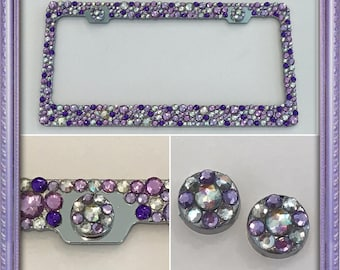 Purple Bling Rhinestone Crystal License Plate Frame - Super SPARKLY & SHINY