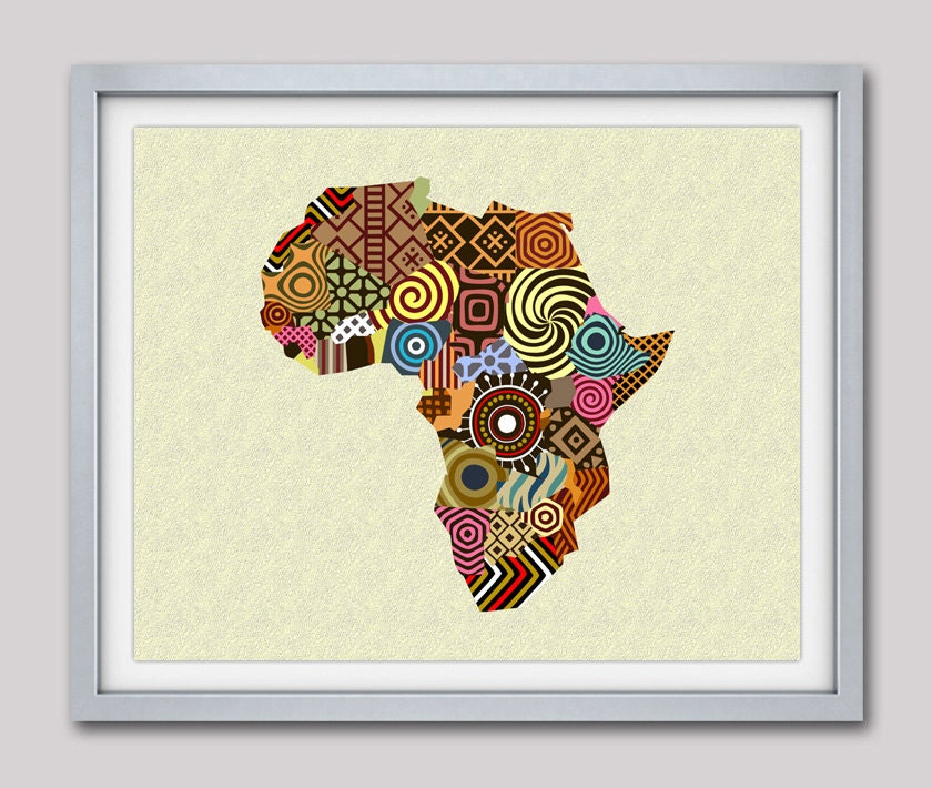 African Map Art, African Wall Art, African Wall Decor, African Shop,  Afrocentric Art, African Print Map Decor