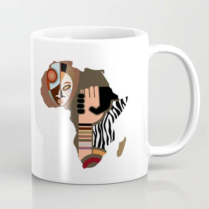 African Map Coffee Mug African Gifts Afro Ceramic Mug