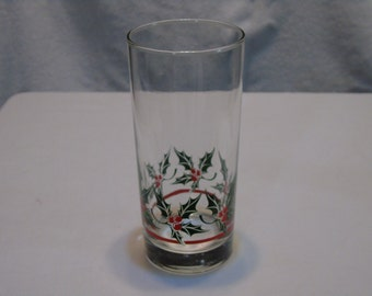 vintage christmas glass 12 oz holly and berries with stripe