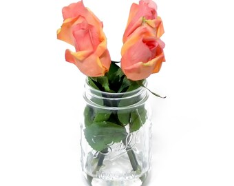 Real Touch Orange Tipped Light Pink Bud Rose Arrangement Mason Jar using Faux Artificial Flowers for Home Decor