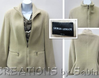 Girogio Armani Jacket Cashmere Rabbit Wool Silk blend Size 40 Euro/10 US/12 UK Beige Cream Classic Made in Italy Vintage Free Shipping (553)