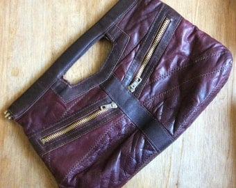 Vintage Patchwork Leather Clutch-Burgandy Leather-Zipper Pockets