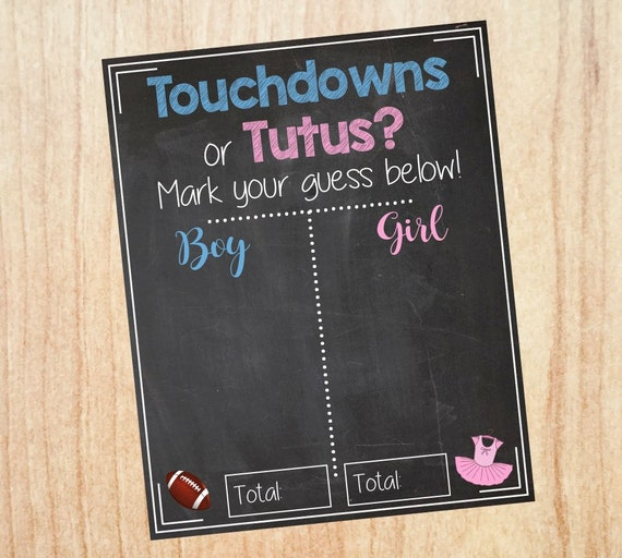 touchdowns or tutus gender reveal guess sign baby shower