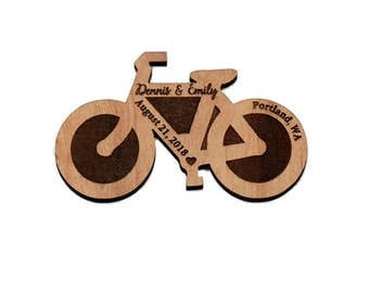 10+ Bicycle Save the Date Magnets - Wedding Favors - Gift Tag - Laser cut and Etched on Wood