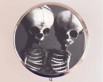 Siamese Skeleton Pill Box Case Pillbox Holder Trinket Stash Box Skeletons Conjoined Twins Circus Freak Goth