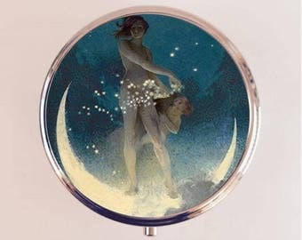 Fairy Crescent Moon Pill Box Case Pillbox Holder Stash Trinket Box Lunar Storybook Image