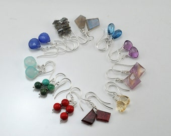 Gemstone drops, Holiday Special, Gifts under 50dollars, Sterling Silver Earrings