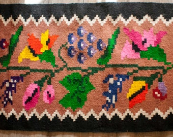 6ft X 2ft, Kilim Rag Runner Floral Pattern Motif, Vintage Hand Woven Carpet, Balkan Traditional Kilim, Pure Organic Wool