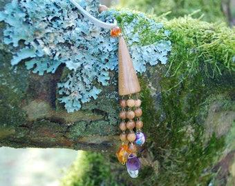 Plum Wood Amber Jasper Necklace Pendant, Long Pendant, Wood Amulet, Boho Hippie Rustic Pendant, Eco Woodland Tassel Necklace, Mothers Day