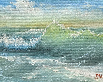 """Pacific Ocean,  4""""x 6""""  original oil painting on the canvas board."""