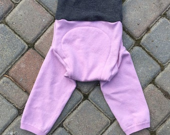 Cloth Diaper Cover, Wool Soaker, Longies, Wool Pants - Purple and Grey Plain Longies - Size Large
