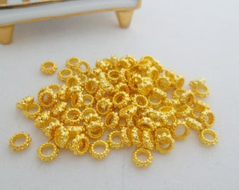 100 pcs- (7 mm) Gold Plated over Cooper,Round Spacer Beads. Free Shipping
