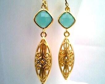 Oriental Teardrop Gold Dangle Earrings, Mint Drop Earrings