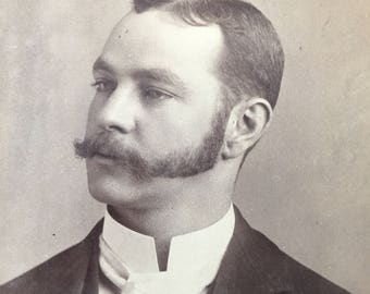 Mustache & Mutton Chop Sideburns Victorian Vintage Photo Cabinet Card