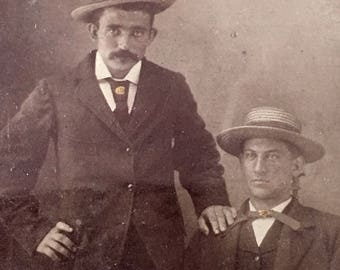 Gambler Buddies, One with Mustache Antique Tintype Photo