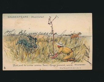 vintage postcard of a man being attacked by a wild pig, Shakespeare quote