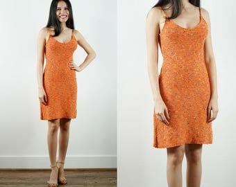 Vintage Crochet Dress / 1990s Orange Dress / Boho Dress / Knit Crochet / Spaghetti Straps / Festival Dress / Fitted / Mini Dress / Small
