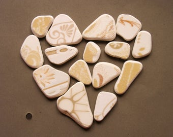 15 Patterned Matching Sea Pottery, Pendant/Ring Sized, SP Jewelry Supply, Ornamental Pattern,Beige /White, Mosaic Pieces